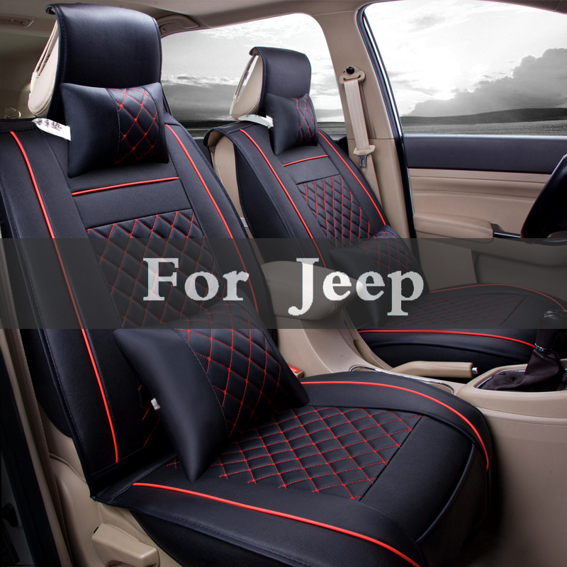 цена на Cover Case (Front+Rear)High Quality Leather Universal Car Seat Cushion Seat Covers For Jeep Cherokee Compass Grand Srt8