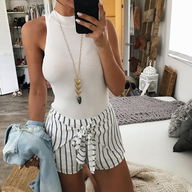 Shorts Black Women White Female High-Waist Casual Femme Hot And Striped