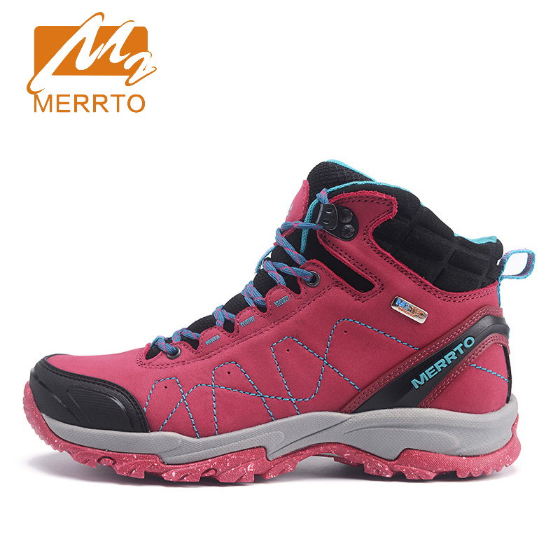 2017 Merrto Women Hiking Boots Waterproof Windproof Outdoor Sport Shoes Breathable Walking Shoes For Women Free Shipping MT18629 2017 merrto mens hiking boots waterproof breathable outdoor sports shoes color black khaki grey for men free shipping mt18638