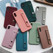 Cute Candy Solid Color Cover With Wrist Strap Phone Cases For Xiaomi Redmi Note Mi 6 7 8 9 Lite Back Protect Soft TPU Funda Capa