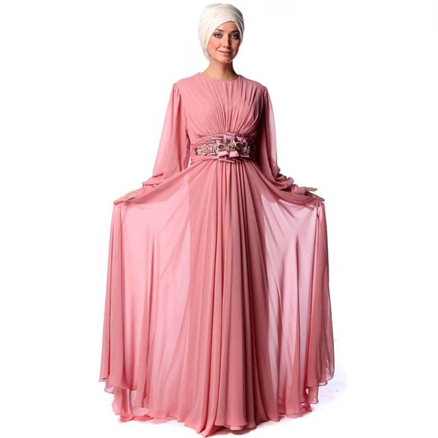 Fabuloso manga larga musulmán del vestido de noche vestidos de Dubai ...