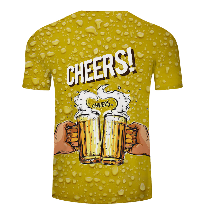 Zomer 2019 herenkleding merk o-hals klok jacket bier korte mouwen 3d t-shirt digital printing T-shirt Homme grote maat 5xl 5