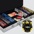 500 PÇS/SET Conjuntos de Fichas de Poker, Fichas De Poker De Luxo Colorido Conjuntos de Argila Casino Chips de Texas Hold'em Poker Com Caixa de Metal