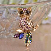 Owl Brooch Pins Vintage Wedding Brooches Jewelry Collares Rhinestone Crystal Broches Women Hijab Accessories Insect Broaches
