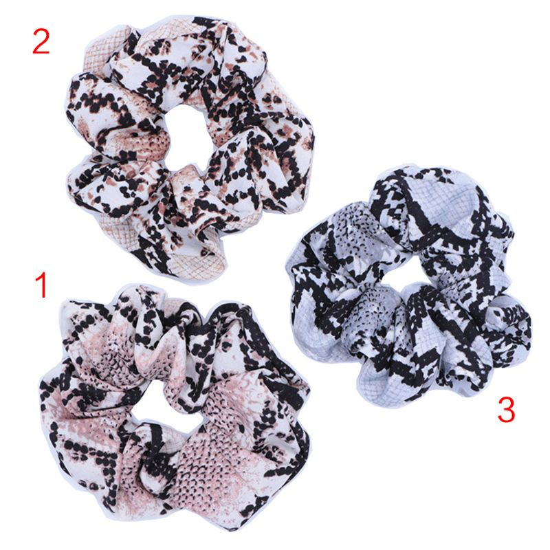 Painstaking 10cm Women Wide Ruched Elastic Rubber Band Snake Skin Textured Plaid Printed Hair Rope Casual Party Scrunchies Ponytail Holder Apparel Accessories