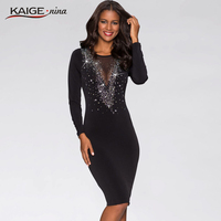 KAIGE NINA Women Autumn Winter Sexy Mesh Dress Casual Knee Length Fashion Dress O Neck Plus