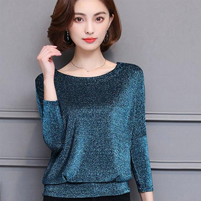 e07e4833a28 New Blinking Bat sleeve Tshirt Women Shiny T-shirts For Women Fashion Long-sleeve  T Shirt Woman Plus Size Female T-shirt