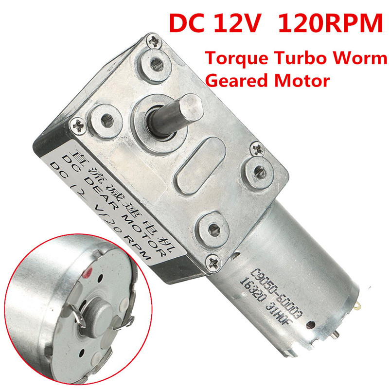 High Torque 12V DC 120rpm DC Worm Geared Motor With Gear Reducer Turbo 370 Motor 2~3W zndiy bry 16ga 120 dc 12v 120rpm geared motor silver