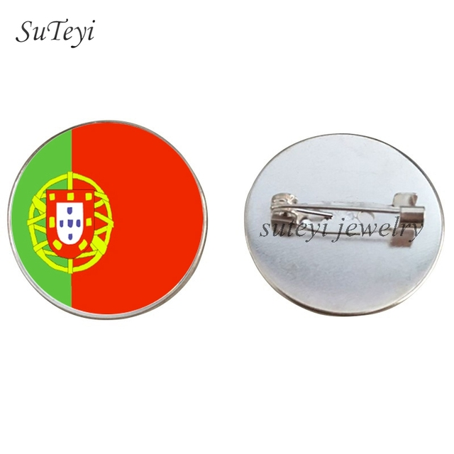 Suteyi Yugoslavia/Norway Flag Badge Brooch Portugal/Sweden/Switzerland Badges 25 Mm Glass Picture Pins Brooches Accessory Gift by Ali Express