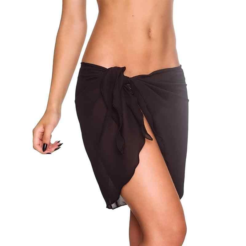 2ad8a5366a1a7 Dropshipping Women Beach Sarongs Chiffon Cover Up Bikini Swimwear Coverup  Wrap Skirt Swimsuit