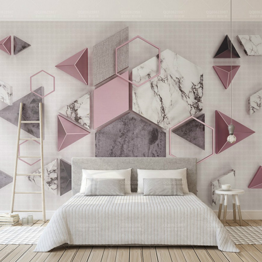 Free Shipping 3d Wallpaper Painting Pink Geometric Pattern Marble Pattern Home Decor Wallpaper Living Room Colorful Mural free shipping marble parquet 3d floor stereo moisture self adhesive office decoration living room wallpaper mural