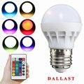 {2 Unidades} RGB LED de La Lámpara E27 3 W Lampara LED Soptlight Bulbo RGB 85-265 V Energía DALLAST ahorro de Cambio de Color Con Control Remoto IR