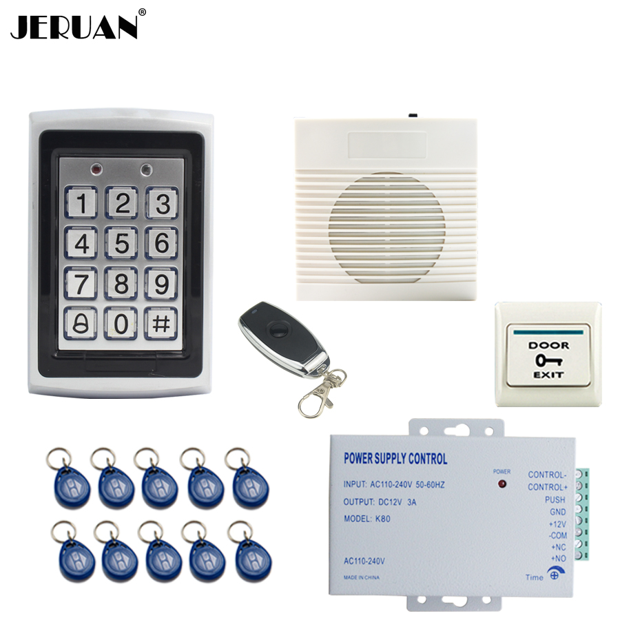 JERUAN Metal Waterproof Backlight button RFID Password Access Controller system kit+doorbell+Remote control+Free shipping free shipping c40 125khz rfid password metal case touch keyboard led light access controller 10pcs crystal keyfobs