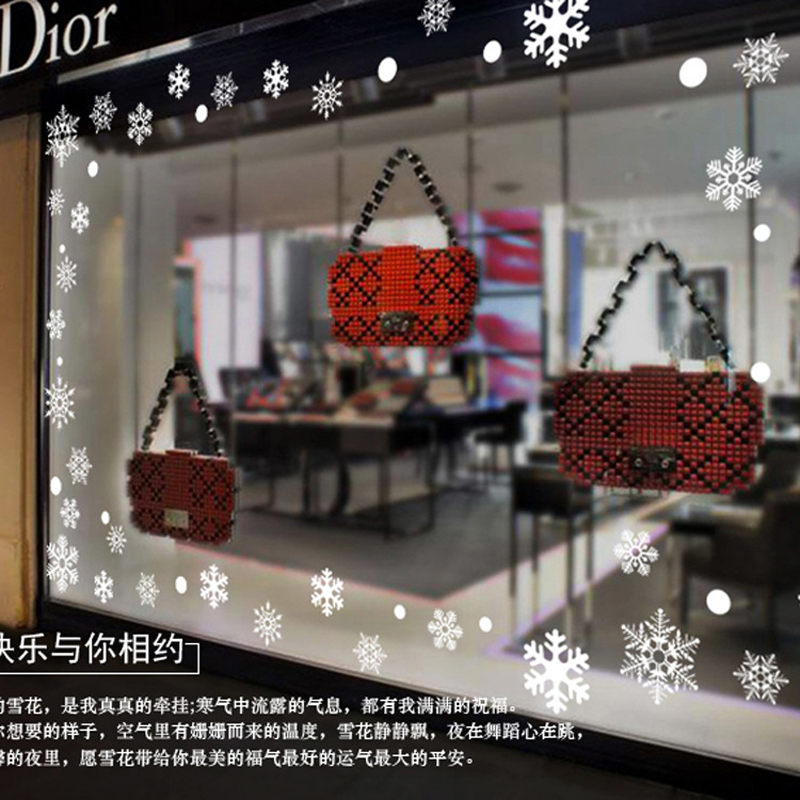 2016 christmas snowflake window stickers new year shop for Christmas decoration sales 2016