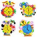 Дети DIY ЕВА часы для батареи игрушки/Дети детские 3D ручной работы часы-головоломка для обучения и образовательные игрушки, бесплатная доставка