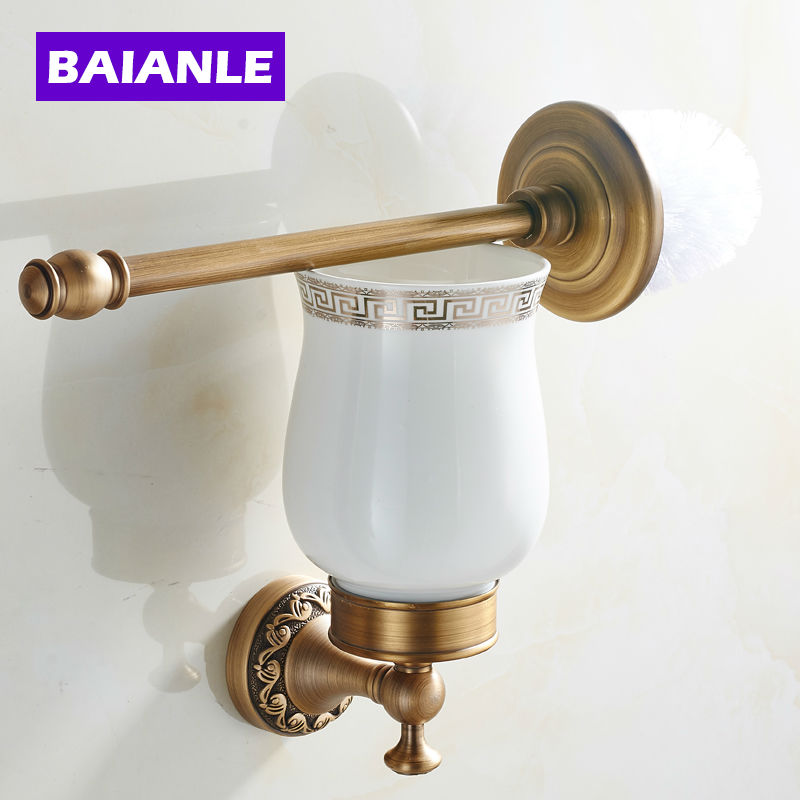 New Arrival European Luxurious Bathroom Accessories Antique Copper Toilet Brush Holder-Bath Products High Quality european luxury bathroom accessories antique bronze toilet brush holder bath products high quality free shipping