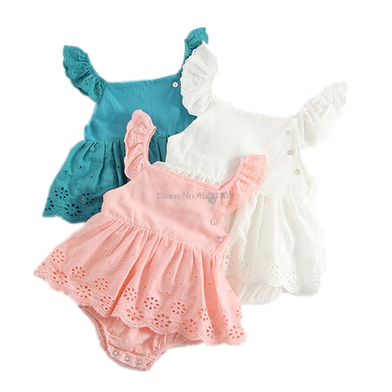 2019 Summer New Baby Girls Romper Dress Cotton Triangle Embroidery Romper New Born Baby Clothes R119