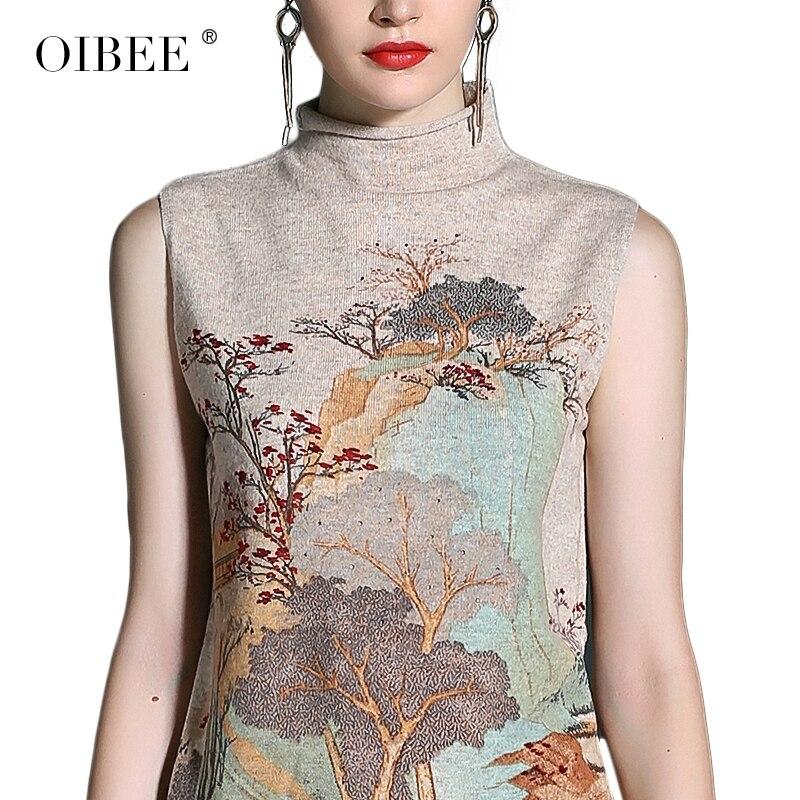 Mince Lâche Gilet De D'encre Nouvelle D'impression Fond Laine Col Mode Haut Pull Apricot Robe Oibee2019 white pzqUx8vBwB