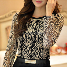 New Plus Size Long Sleeve Lace women Chiffon Blouse hollow out elegant fashion casual Shirt top