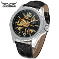 JARAGAR Men Luxury Brand Watch Skeleton Watches Tourbillion Automatic Mechanical Leather Wristwatches Gift Box Relogio Releges