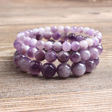 LingXiang 6/8/10mm Natural Jewelry dream amethysts stone beads Bracelet Charms Yoga Women meditation amulet