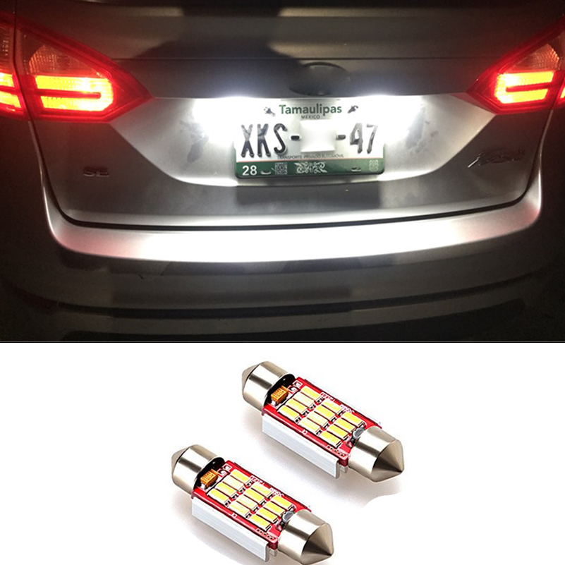 2x Canbus No Error 36mm C5W SMD 4014 Festoon LED Light Bulb Car LED Number License Plate Lights For Ford Focus 2 II 2004-2007 cyan soil bay 1pc 31mm 36mm 39mm 41mm c5w c10w 4014 smd car led festoon light canbus error free interior dome lamp reading bulb