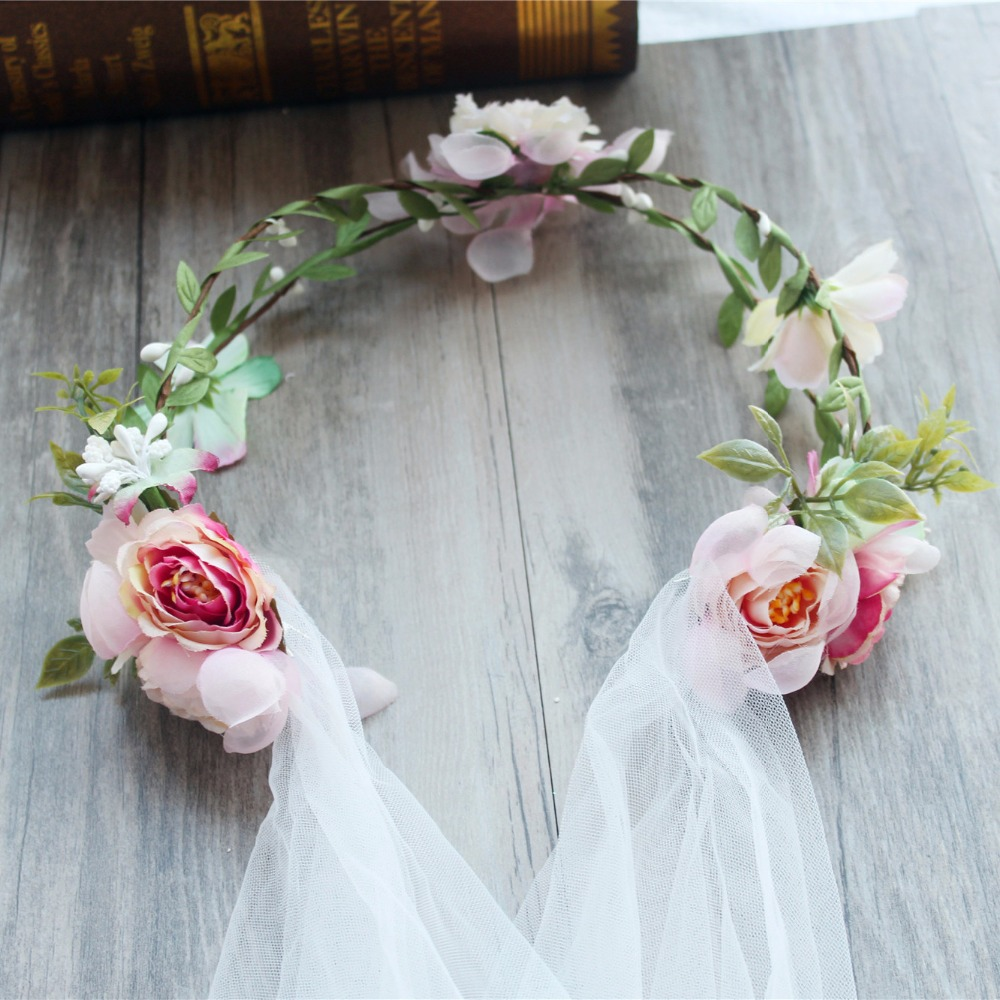 New Fashion Wedding Bridal Flower Tiara Crown With White Veil Bride