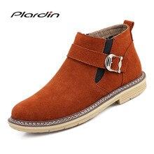 Plardin/новые зимние мужские большие размеры удобные теплые Повседневное молния Туфли с ремешком и пряжкой для мужчин кожаные туфли модные зимние сапоги