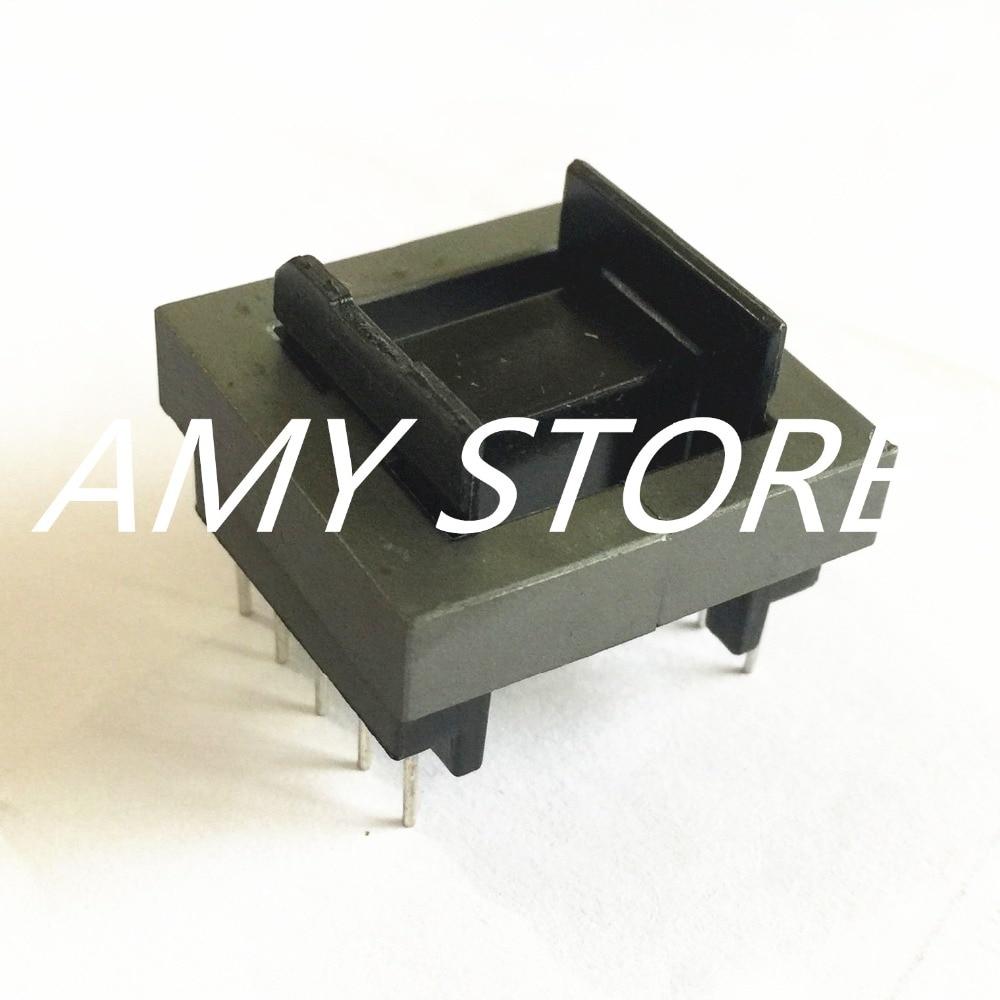 цена на Black Plastic Iron EE30 Ferrite Core 10 Pin Bobbin Coil Former Set