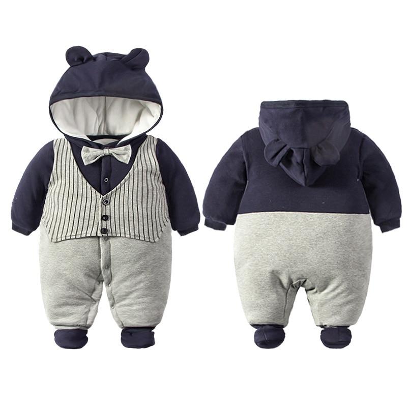 2019 Pasgeboren Rompertjes Winter katoen Dikke Warme Baby boy meisje Kleding baby Lange Mouwen Hooded Jumpsuit Kids Uitloper voor 0 -24M 2
