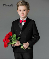 Flower Boys Black Wedding Suits For Children Formal Evening Prom Party Tuexdos