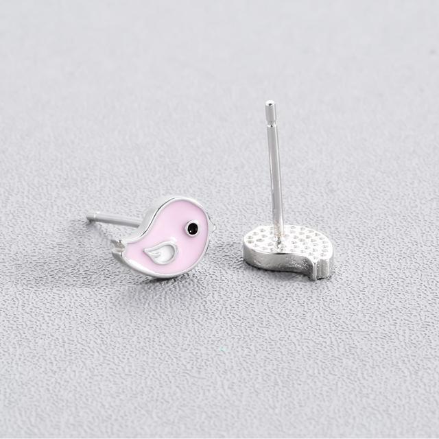 Cute Enamel Bird Stud Earrings For Kids Children Girls