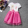 Summer Girls Dress Elsa Net Yarn Princess Party Dress Ball Gown Children Short Sleeve Halloween Dress Costumes Kid's Clothing #D