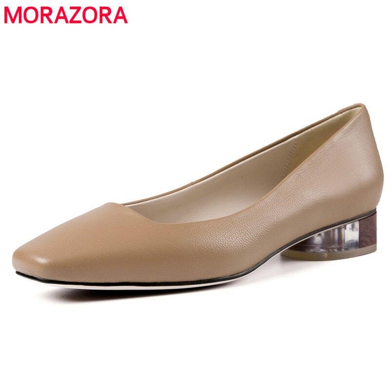 Confortable 2019 Bout Pompes Cristal En Peu noir Profonde Carré Femmes Talons Robe Véritable Cuir D'été Chaussures Morazora Top Qualité Apricot SdxSaq