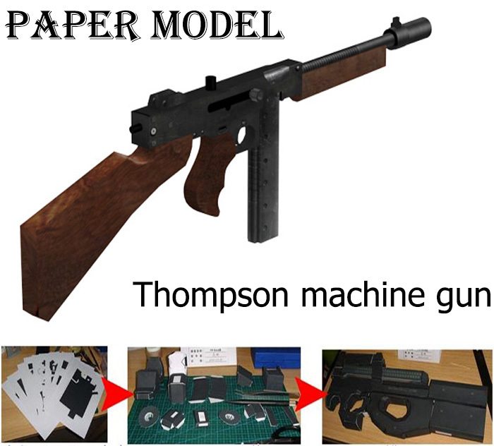 Free shipping Paper Model Simulation CS 1:1 Firearms Toys Thompson Machine Gun Waterproof No Fade 3D Puzzles for Adult