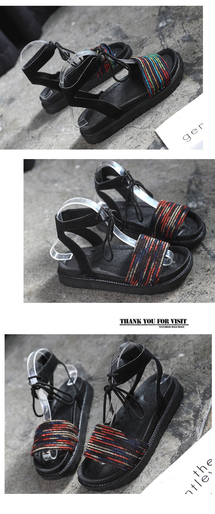 Casual Lace-up Rome Gladiator Women Sandals Solid Ankle Strap Shallow Women Shoes Summer Fashion Flat Sandals 24