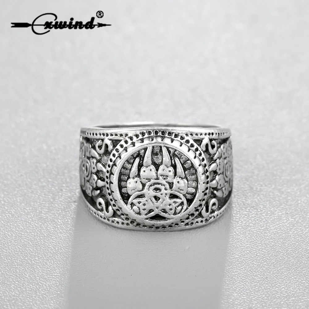 Cxwind Vintage Slavic Bear Paw Slavic Ring Viking Norse Knot Rings for Man Soldier Military Russian Signet Ring Finger Jewelry