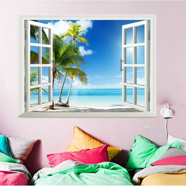 HUACAN Full Square Diamond Painting Landscape Diamond Embroidery Window Picture Of Rhinestone 5D DIY Mosaic Seaside