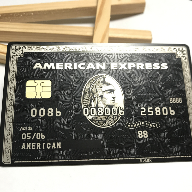 Chip card magnetic stripe card with the box American Express card