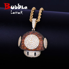 Iced Red Color Pendant Necklace with Rope chain Silver Color Bling Cubic Zirconia Men Women Hip Hop Jewelry