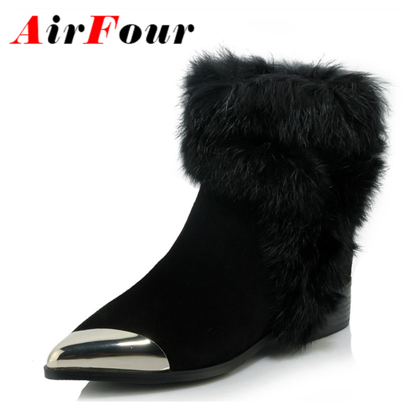 ФОТО Airfour New Fashion Fur Charms Zippers Shoes Woman Flats Winter Boots Black Shoes Ankle Boots for Women Pointed Toe Size 34-39