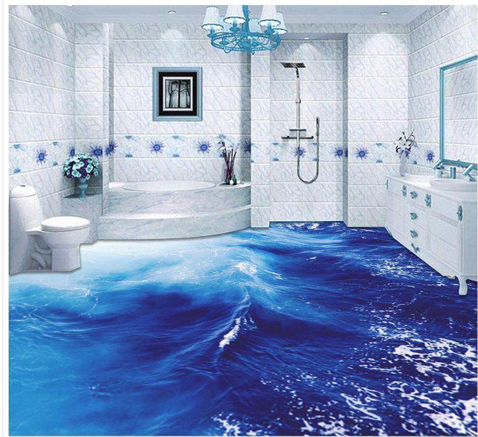 3d floor painting wallpaper Sea waves bathroom with living room 3D ...