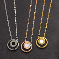 Rose Gold Plated Stainless Steel Color Glaze Blue Green Black Necklace Women Chains Statement Necklace Fine