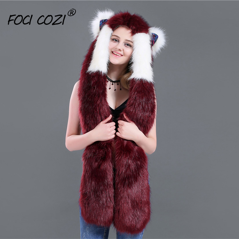 Animal Fox Hat Halloween Costume Faux Fur Hoody Fashion Hat 3in1 White Wine Red Womans Hats And Scarves Mittens Accessoire Hiver