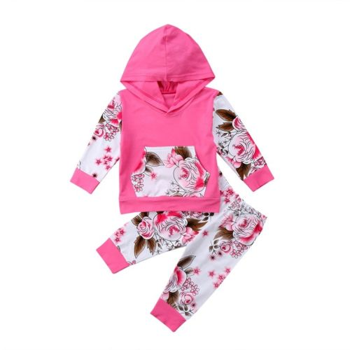 2PCS Baby Clothing Floral Print Newborn Infant Baby Girl Hooded Tops Sweatshirt Long Pants Home Outfits Set Clothes Spring