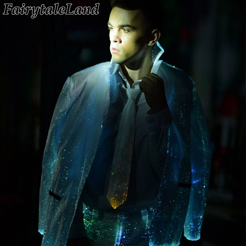 Led Luminous Jacket Fiber Optic Winter Jacket Casual Mens Business Formal Jacket Christmas Carnival Party Rgb Light Coat Men's Clothing Jackets