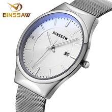 BINSSAW Marca de lujo de Los Hombres relojes vestido reloj de cuarzo de los hombres reloj de cuarzo de la correa de malla de acero Ultra-delgado ultra reloj relogio masculino