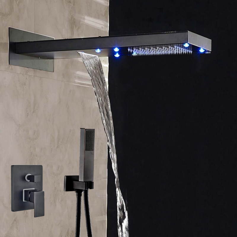 Wholesale And Retail Contemporary Oil Rubbed Bronze LED Waterfall & Rainfall Shower Faucet 3 Ways Mixer Valve W/ Hand Shower allen roth brinkley handsome oil rubbed bronze metal toothbrush holder