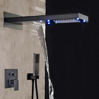 Wholesale And Retail Contemporary Oil Rubbed Bronze LED Waterfall & Rainfall Shower Faucet 3 Ways Mixer Valve W/ Hand Shower
