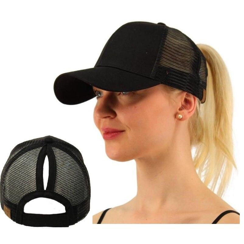New Design Original Girl Women Size Adjust 2 Style Ponytail Top Knot Trucker  Cap Mesh Baseball Sun Hat 95d2667112c6